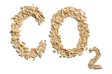word co2 made of wood pellets