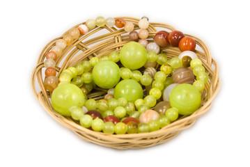 Straw basket with onyx and carnelian bead