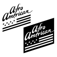 Afro American flag stars stripes black white