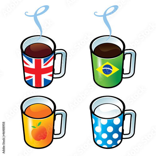 Cups with tea, coffee, juice and milk drink