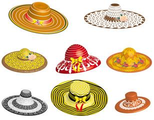 Set of elegant female hats, 3D