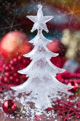 Christmas decorations: Christmas tree, balls and snowflakes