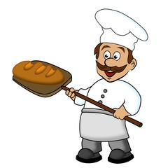 Bäcker mit frischem Brot