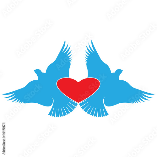 Heart and Birds, valentines day symbol.