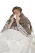Kranker Mann im Bett - Freisteller