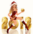 New golden 2013 Year and Santa girl