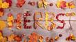 Blätter und Deko als Schriftzug Herbst