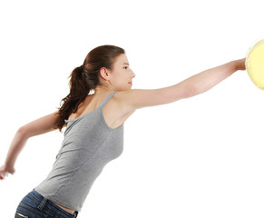 Young woman with fists up punching something