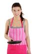Smiling caucasian female dressed in apron