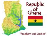 Ghana Africa national emblem map symbol motto