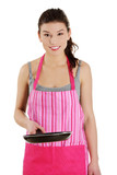 Smiling caucasian female dressed in apron