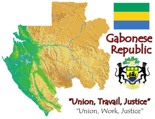 Gabon Africa national emblem map symbol motto