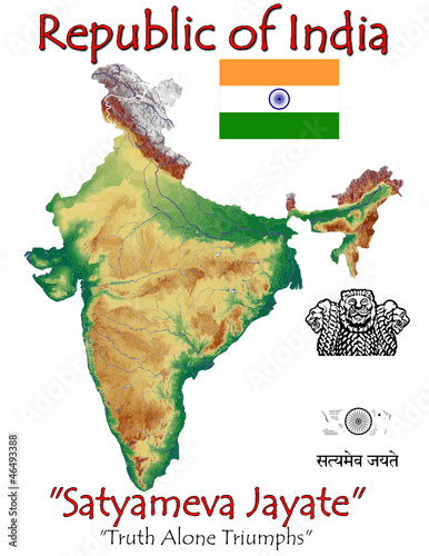 India Asia national emblem map symbol motto