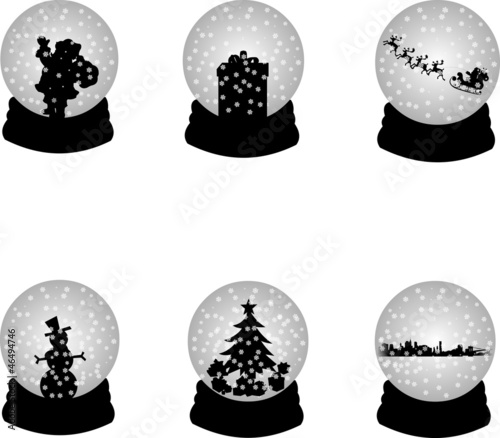 Christmas crystal snow ball or sphere silhouette