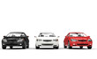 Black, White, and Red Cars Showroom