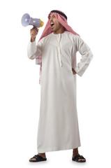 Arab yelling with loudspeaker