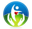 Healthy human and healthy heart symbol.