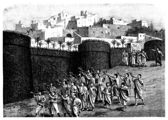 Falling the walls of Jericho - Biblical scene
