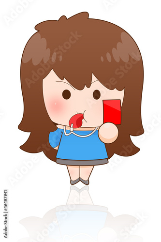 Portrait of an attractive young girl showing red card