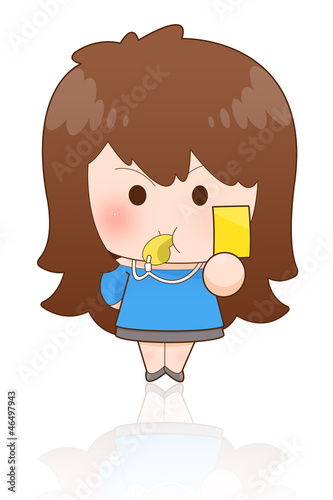 Portrait of an attractive young girl showing yellow card