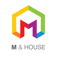 Letter M and house sign