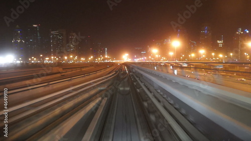 Dubai Metro Drive at night2