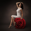 Elegant Beautiful Woman And Big Red Rose On Dark Background