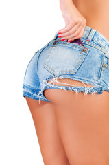 Sexy woman wearing jeans with condom in back pocket