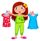 Fototapety girl holding different outfits