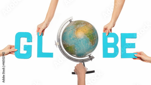 Word GLOBE with a spinning globe for the O