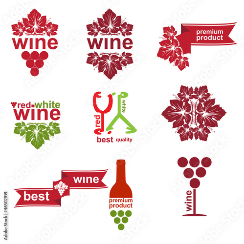 Set of vintage and modern wine elements labels for restaurant an