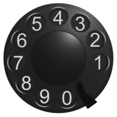Black rotary phone dial