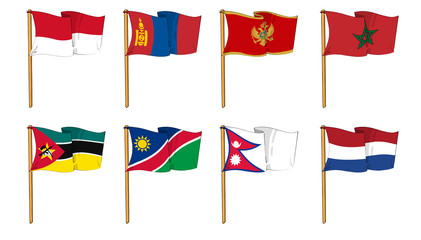 Hand-drawn Flags of the World - letter M & N
