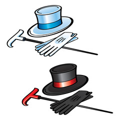 Top Hat Gloves and Cane elegant gentleman wear clothes