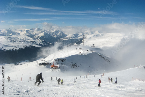 Crowded ski slope