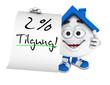 Kleines 3D Haus Blau - 2 Prozent Tilgung