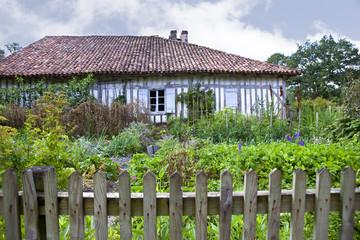 Ferme, maison, jardin, campagne, Landes, France, vert