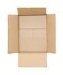 Opened cardboard box. Isolated over white background