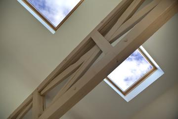 Velux, fenêtre, toit, intérieur, poutre, maison, architecture