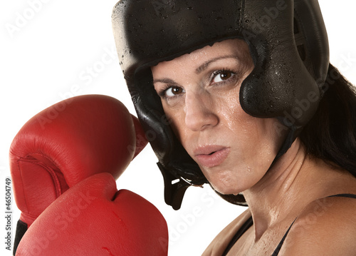 Woman Boxer with Gloves Close Up