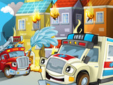 The ambulance action - illustration for the children