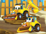 Father and son excavators - illustration for the children