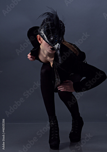beaty girl in mask posing