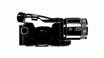 HD Video Camera Black And White Animation 01