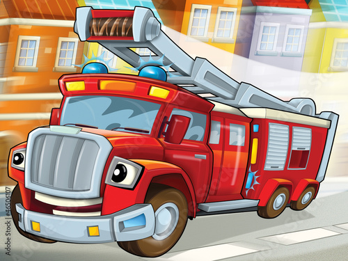 Zdjęcia na płótnie, fototapety na wymiar, obrazy na ścianę : The fire truck to the rescue -illustration for the children