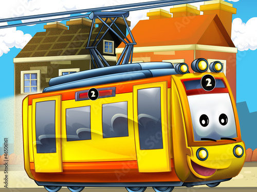 Happy tram in the city - illustration for the children