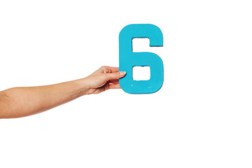hand holding up the number six from the left