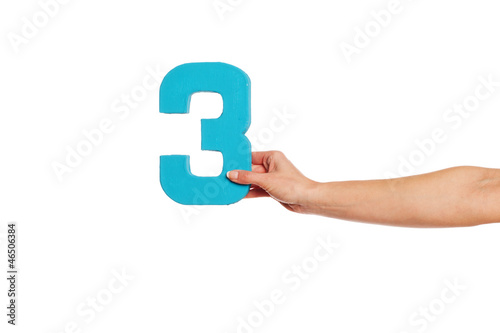 hand holding up the number three from the right