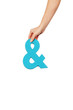hand holding up an ampersand from the top