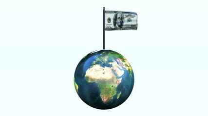 Dollar Flag Waving and Earth Rotating, Seamless Loop